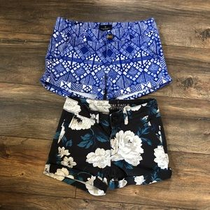 Two Pairs of patterned American Eagle shorts
